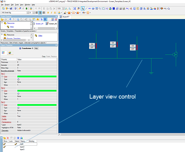 TRACE MODE SCADA/HMI layer view control