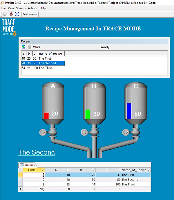 Recipe management in TRACE MODE HMI